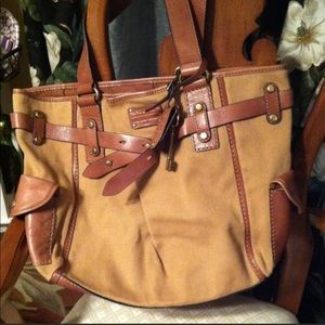 Fossil Large Canvas and Leather Tote